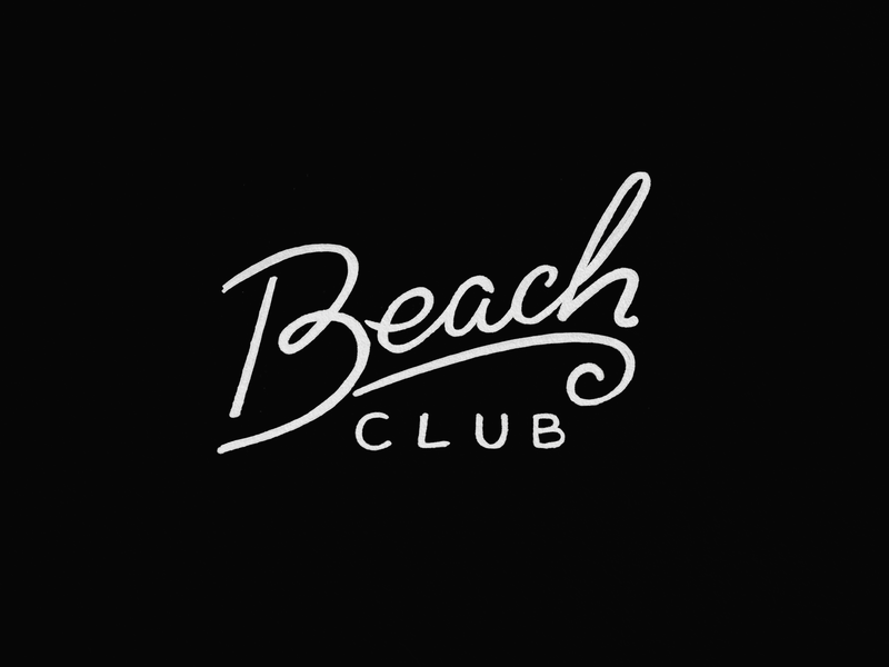 Beach Club Lettering vacation island happy simple type logotype script wave club beach letters typography illustration handmade one line lettering beach club