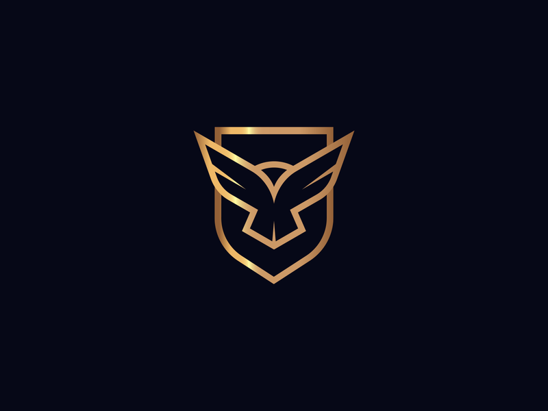 Mark for Security Company elegant branding logo line minimal strong overwatch prey pray see protect gold bird eagle wings shield security