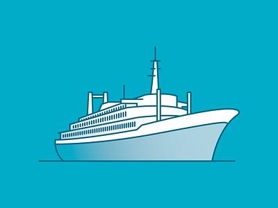 Rotterdam landmarks: SS Rotterdam juuve branding skyline modern simplistic minimal line illustration ship boat cruise ship ss rotterdam rotterdam