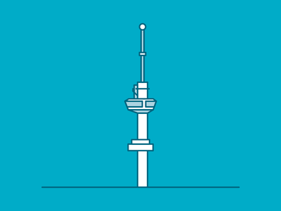 Rotterdam landmarks: Euromast skyline simplistic rotterdam modern minimal line juuve illustration building tower euromast branding architecture