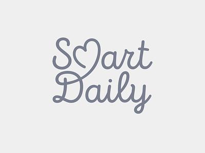 SmartDaily brand identity baby newborn word mark wordmark icon heart symbol lettering script monoline logo branding smartdaily