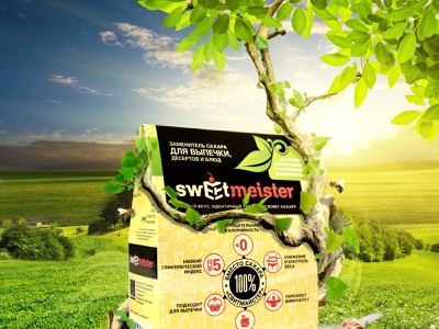 original product packaging in the field sweetener wood nature unusual original product advertising cover photoshop retouching photomanipulation