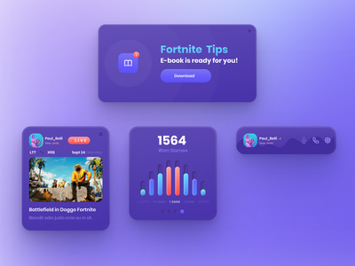 Game UI Kit uidesign e-book figma stats fortnite game cards game design product design ui product ux design