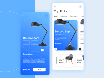 Desk Lamp Shop user experience navigation bar menu interface homepage graphic  design dribbble color lamp shop app animated animated cards animation mobile app app userexperiance ui design ux
