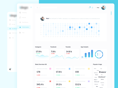 Influencer Statistic Dashboard statistic influencer concept shoot dashboard ui dashboad adobe xd uidesign dribbble product userexperiance ui design ux