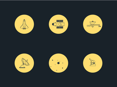 Space Icons space icons voyager spaceshuttle hubble microscope seti solarsystem sketch vector
