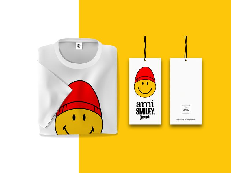 Ami x Smiley collaboration smiley ami apparel branding marketing collateral brand identity logo graphic  design fashion makgrafix