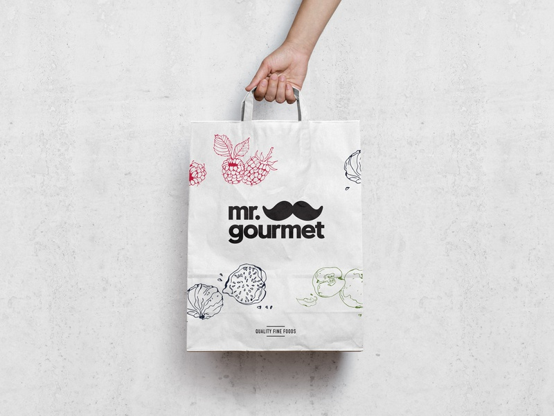 Mr Gourmet illustration packaging foodies design typography logotype graphic  design brand identity logo makgrafix
