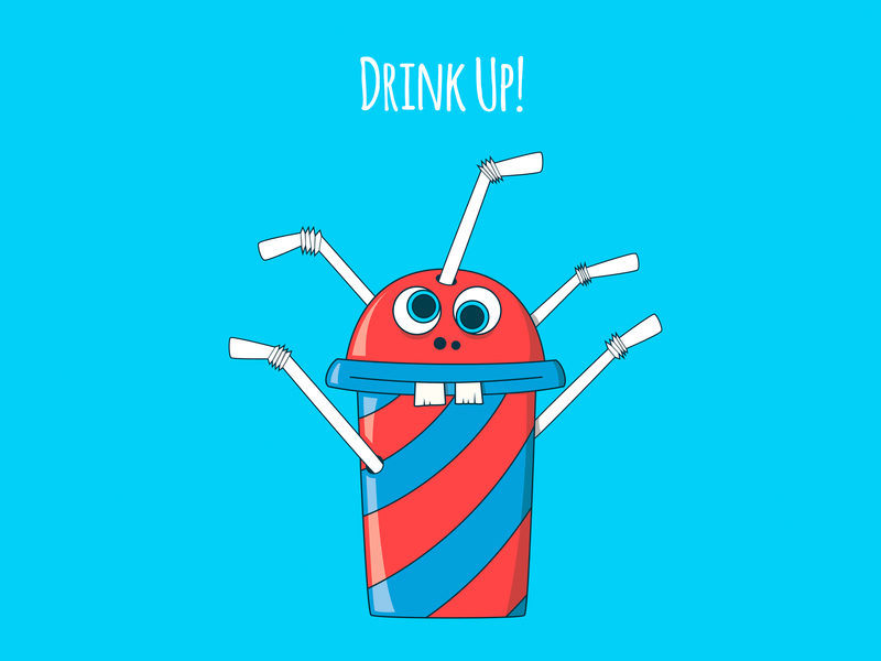 Drink Up! poster design poster funny vector adobe illustrator drawing character food colors foodies character design food illustration illustrator kids illustration illustration