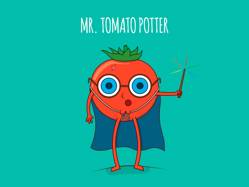 Mr. Tomato Potter poster design poster funny vector adobe illustrator drawing character food colors foodies character design food illustration illustrator kids illustration illustration