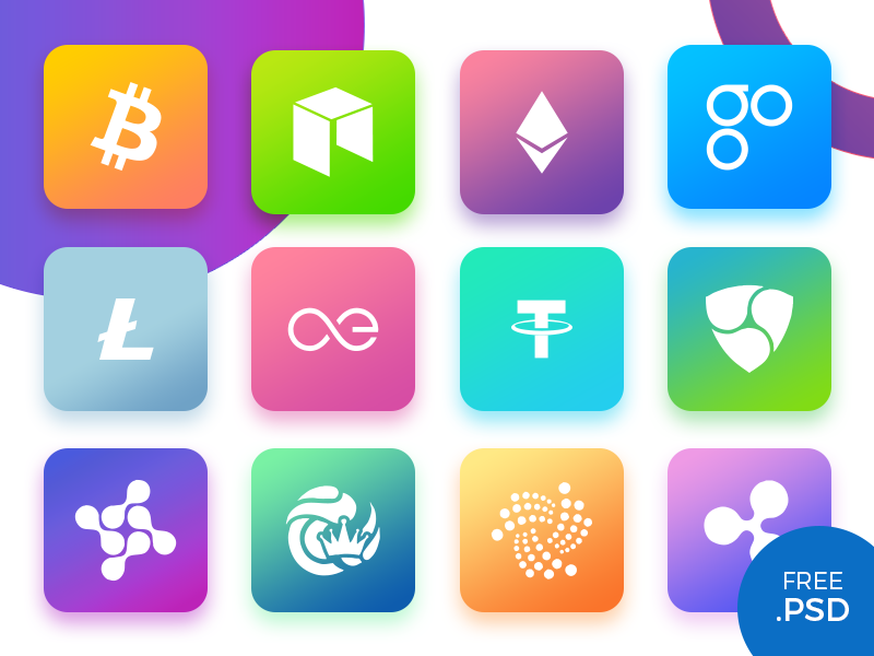 Cryptocurrency Icons app mobile ios currency ui gradient cypto icons free