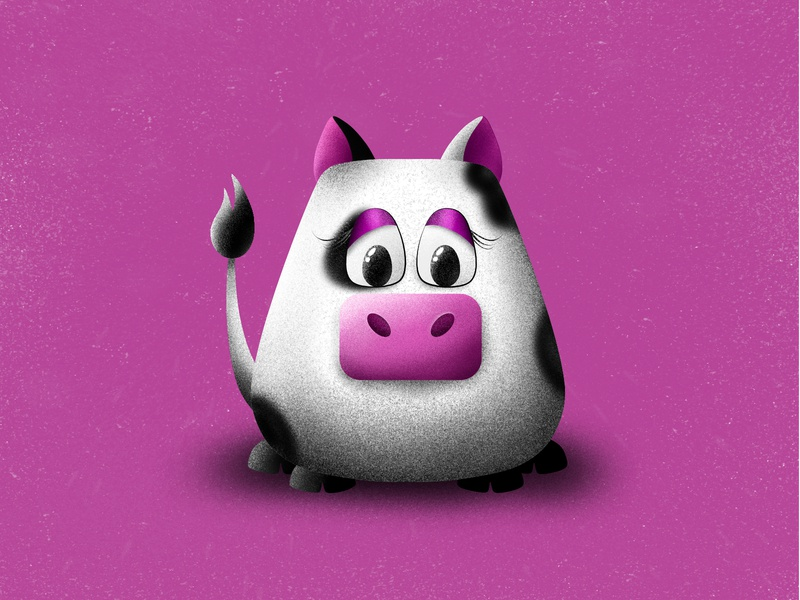 This cow is very glam 😅 affinitydesigner 3d art pink glam cute animals cute graphic animal art animal illustration design cow