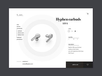 Hyphen product page concept product concept web e-commerce design interface ui hyphen shop sketch