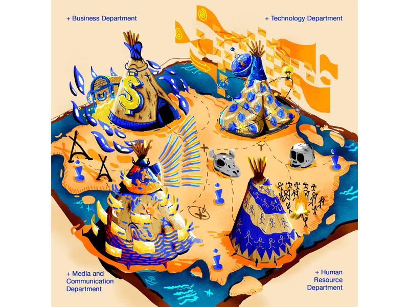 American Indian theme map illustration