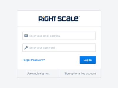 Our very minimal login page form rightscale login