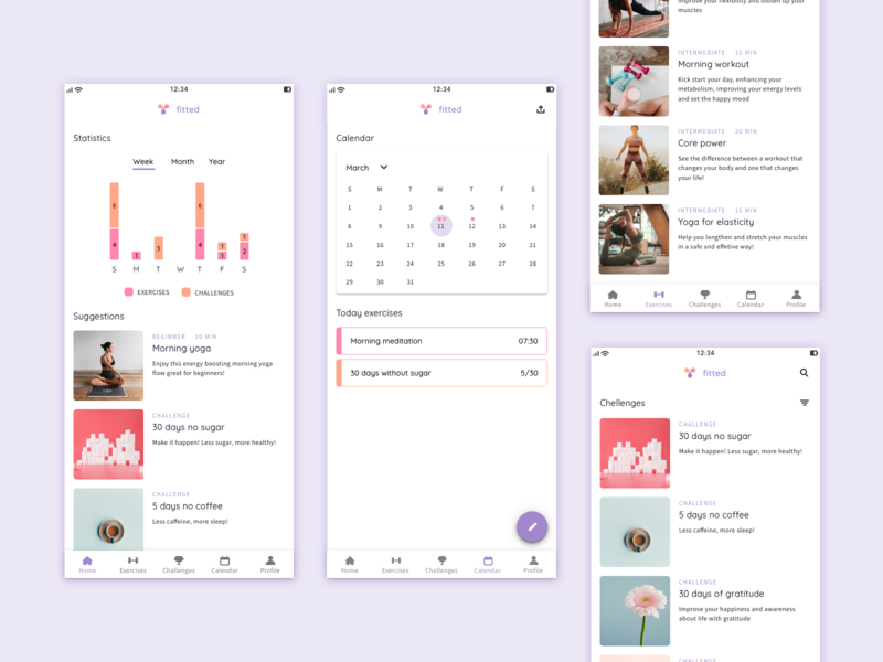 Exercise web app app web ui design