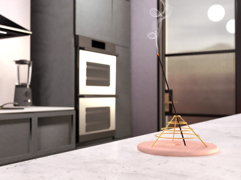 Minimalist Incense Holder substance rendering render kitchen pink incense maxon redshift cinema4d c4d industrialdesign product design product