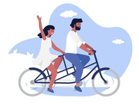 Couple riding vector bike vector illustration