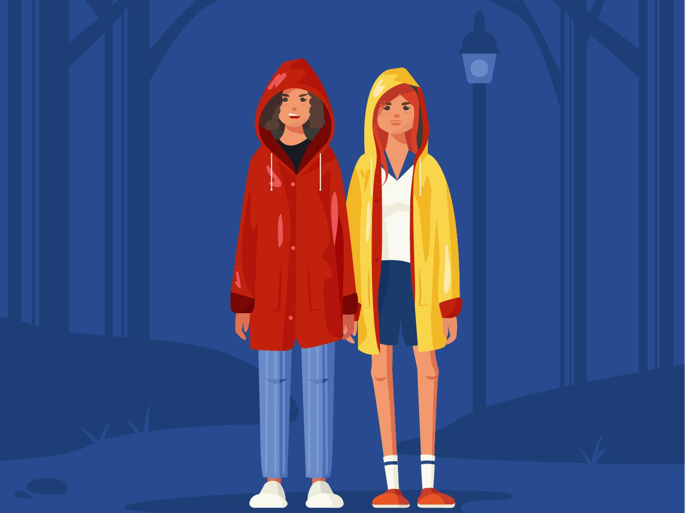Stranger Things vector illustration things stranger netflix eleven stranger things series 80s style yellow red raincoat vector illustration girl flat female character cartoon