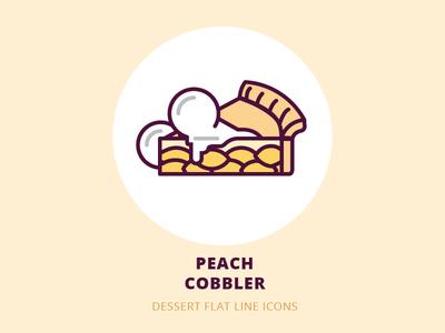 Dessert flat line icons