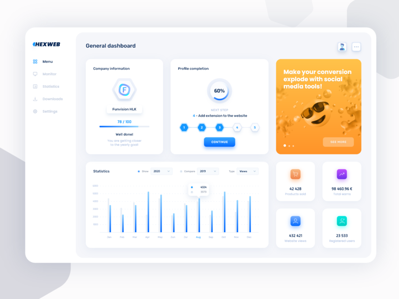 Dashboard Hexweb - Website Management Concept colors web illustration design app trend 2020 inspiration blue white statistics web app management app financial app dashboard ui dashboard app lighttheme ux ui dashboard