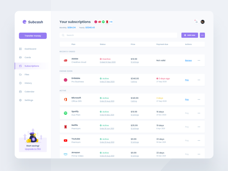 Banking Dashboard concept - Manage Subscription banking website bank manage statistics ux ui ux design ui design clean purple dashboard template dashboard app light dashboard light white subscriptions list money banking dashboard