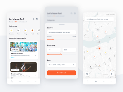 Events Finder App ios emoji icon search results list categories emoticons map components search application orange events finder smartphone app ux ui mobile app mobile