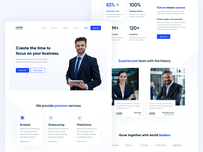 Accounting agency landing page site homepage product clear minimalist inspiration modern blue page design office business webdesign web landing white clean ux ui website landing page