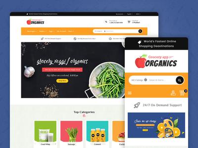Organics – Grocery App & Market – Prestashop Responsive Theme milk fruits food responsive ecommerce shopify woocommerce prestashop wordpress opencart templatetrip
