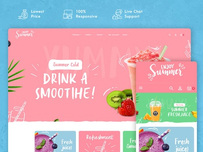 Summer Food & Drink Shakes – Prestashop Responsive Theme ice cream fresh froots summer cold responsive ecommerce shopify woocommerce prestashop wordpress opencart templatetrip