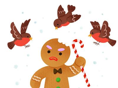 Gingerbread Man candycane robin christmas card christmas digital animal character children characters photoshop illustration