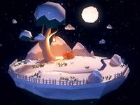 Foxy in the snow snow winter fox turntable 3d