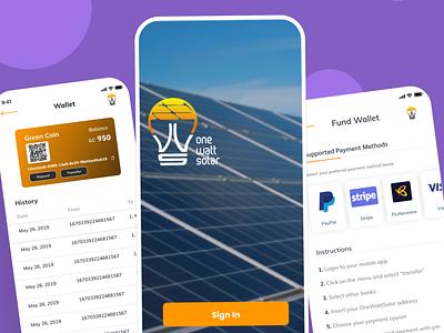 One Watt Solar mobile app minimal ui ux design