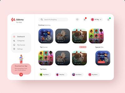 Udemy For Kids illustraion 3d figma web design dashboad