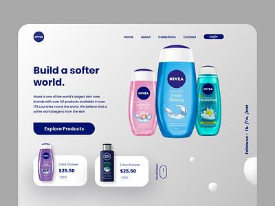 Nivea Homepage Redesign product design branding web design design ux ui figma minimal