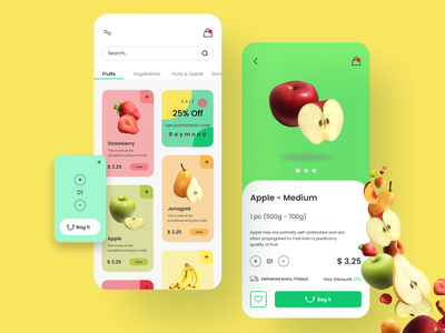 Fruity mobile app uxdesign uidesign modern ecommerce ordering app fruit mobile app design mobile design mobile app mobile ui mobile design ux ui minimal figma