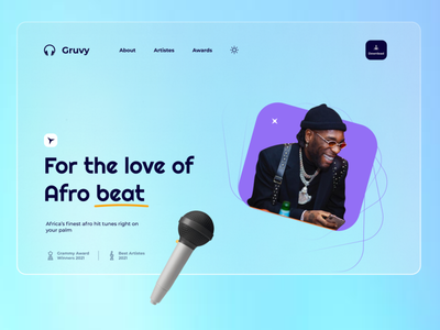 Music App - Afro Beat(Gruvy) illustration mobile app design ux ui figma