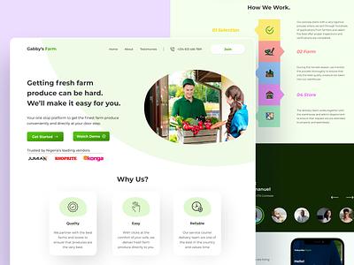 Gabby's Farm - Landing Page for a Farmer to Consumer website product design web design landing page ui farm illustration minimal design ux figma