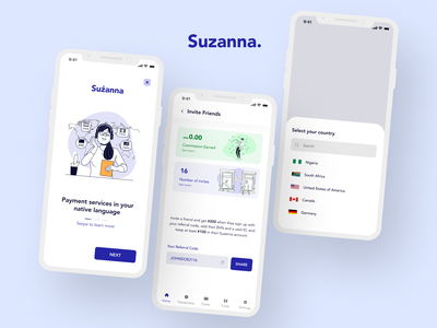 Suzanna - A Payment Service App(Fintech) wallet giftcard cryptocurrency payment service branding fintech mobile app design minimal mobile app design figma ux ui