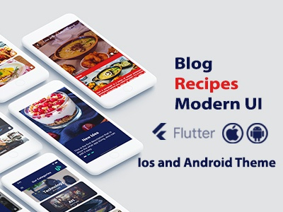 Flutter Modern Blog and Recipes - Ios and Android Theme app ui design android app android adobe xd ios flutter