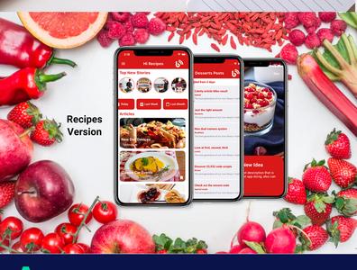 Flutter Modern Blog and Recipes Theme dart careem app design android app android adobe xd ui ios flutter