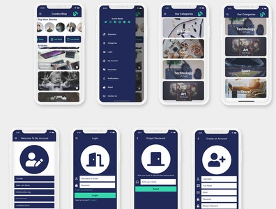 Flutter Modern Blog and Recipes - Ios and Android Theme design career app dart careem android app android ui adobe xd flutter