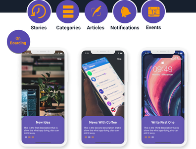 Flutter Blog App With Dashboard ios and android design android android app adobe xd ui ios flutter