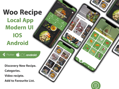 Recipe Flutter Application - ios and android dart careem app design android app android ios adobe xd ui flutter