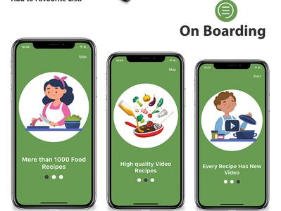 Recipe Flutter Application-On Boarding dart careem app design android app android adobe xd ui ios flutter