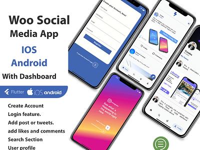 Social Media App with Dashboard social network illustration dart ui ios flutter