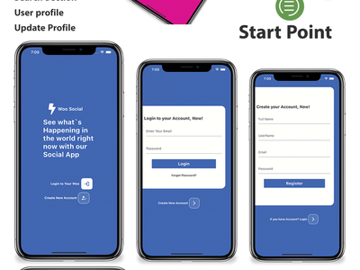 Flutter Social Media App with Dashboard -Ios, and Android animation 2d career logo android app design android branding adobe xd ios flutter