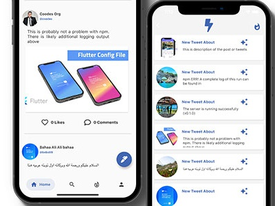 Flutter Social Media App with Dashboard -Ios, and Android  Downl ios illustration flutter