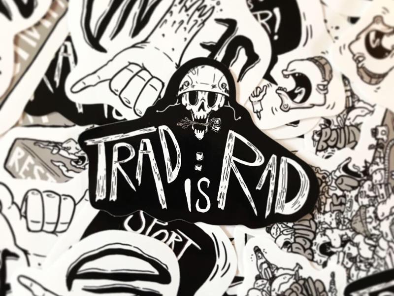 Trad is Rad! Climbing Sticker illustration climbing lowbrow stickers