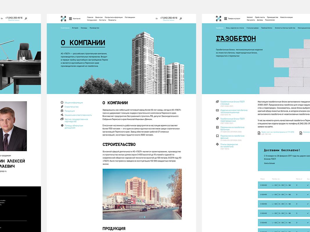 PZSP corporate website yuriy ketov reactive media perm realty building web design icons ux ui corporate website